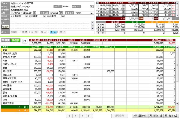 原価管理画面